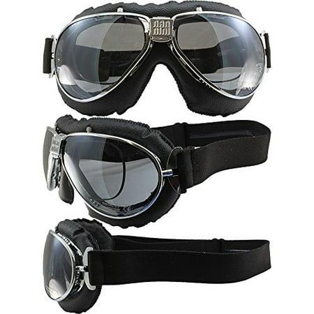 Nannini TT Hand-Sewn 4V Black Leather Goggles Chrome Silver Mirror Lens With Prescription Insert