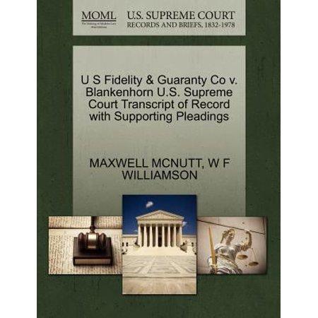 U S Fidelity   Guaranty Co V  Blankenhorn U S  Supreme Court Transcript Of Record With Supporting Pleadings