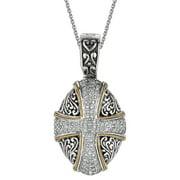 Phillip Gavriel 18k Gold & Sterling Silver Cross White Sapphire Pendant