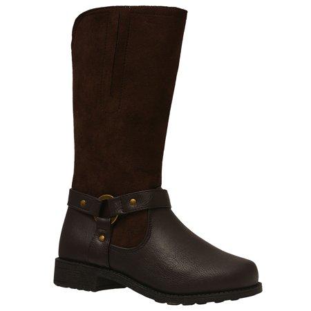 Rachel Shoes Girls Brown Studded Strap Accent Side Zipper Boots