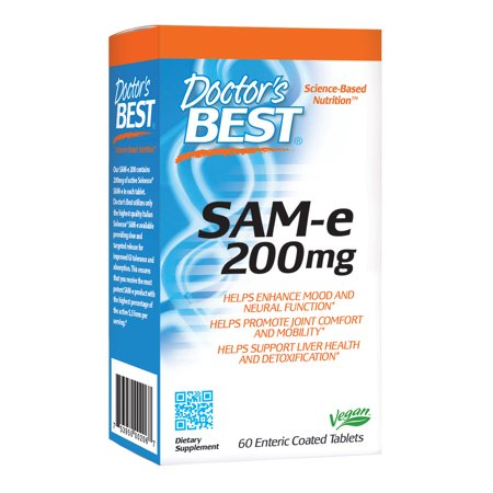 Doctor's Best SAM-e 200 mg, Vegan, Gluten Free, Soy Free, Mood and Joint Support, 60 Enteric Coated Tablets ()