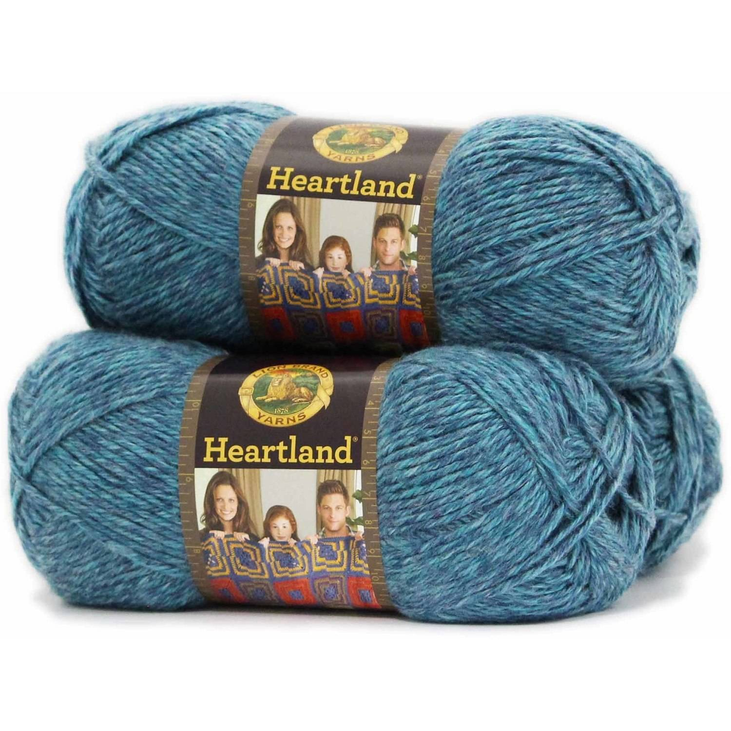 Lion Brand Yarn Heartland 100 Percent Acrylic Yarn, 3 Pack