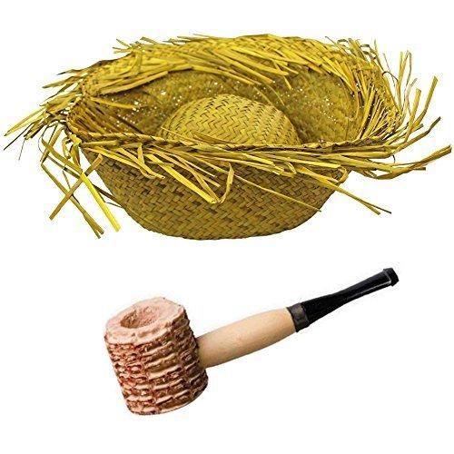 Natural Adult's Straw Beachcomber Hat + Corn Cob Pipe
