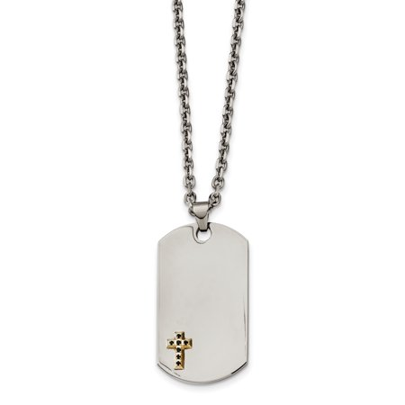 Stainless Steel 14k with Sapphires Cross Dog Tag Necklace