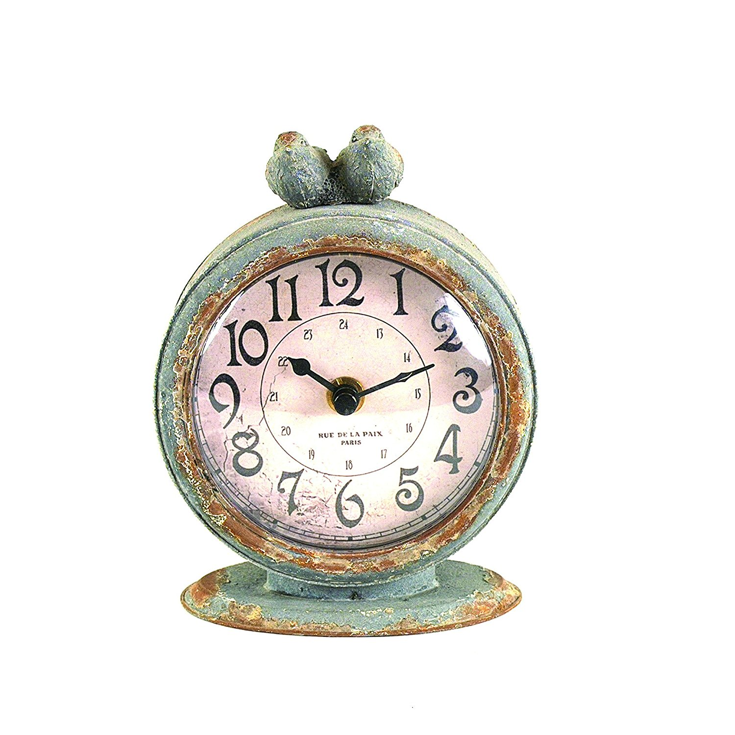 Creative Grey Pewter Table Clock with Bird, Ship from USA,Brand Creative Co-op