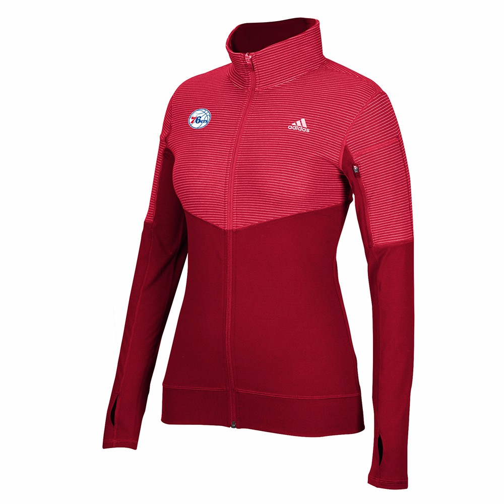 Philadelphia 76ers NBA Adidas Red Lightweight Climalite Performance Full Zip Team Logo Pullover Jacket For Women by Adidas