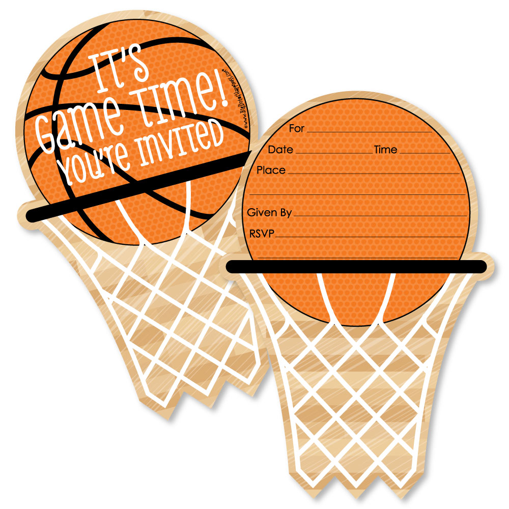 Nothin' But Net - Basketball - Shaped Fill-In Invitations - Baby Shower or Birthday Party Invitations - Set of 12