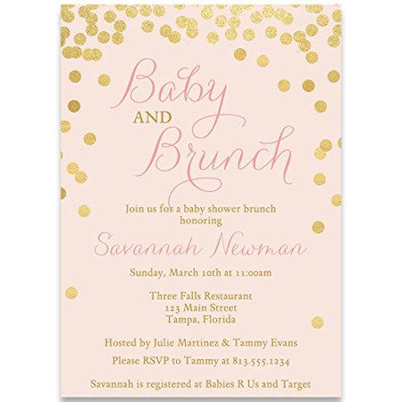 Brunch Baby Shower Invitations Gold Confetti Girls Pink Blush