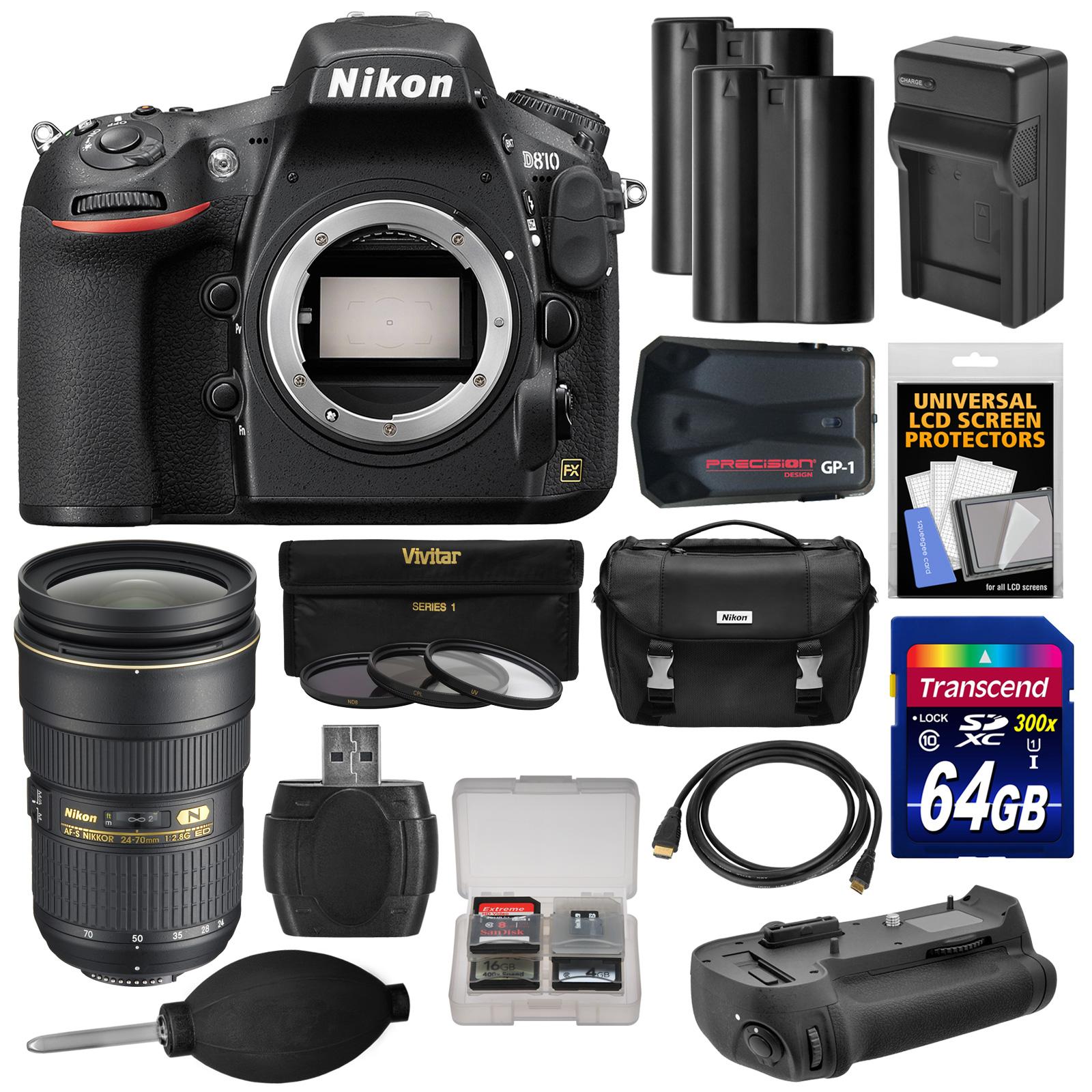 Nikon D810 Digital SLR Camera Body with 24 - 70mm f / 2.8G Lens + 64GB Card + 2 Batteries / Charger + Case + GPS + Grip + Kit