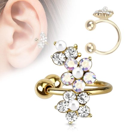 Earring Flower Gold IP Brass Non-Piercing Ear Faux Pearl Cuff CZ -