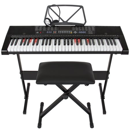 Best Choice Products Teaching Electronic Keyboard Piano Set  61 Key W  Adjustable H Stand  Stool  Headphones  Black