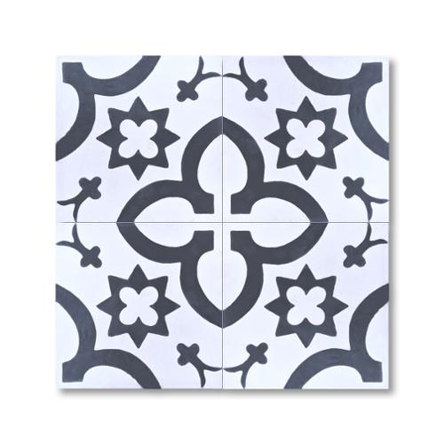 Moroccan Mosaic Megouna Black and White Handmade Moroccan 8 x 8 inch Cement and Granite Floor or Wall Tile (Case of 12)