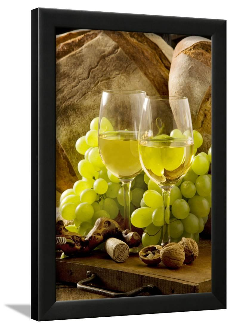 33b1ec742f9a Wine Glasses with White Wine and Grapes Framed Print Wall Art ...