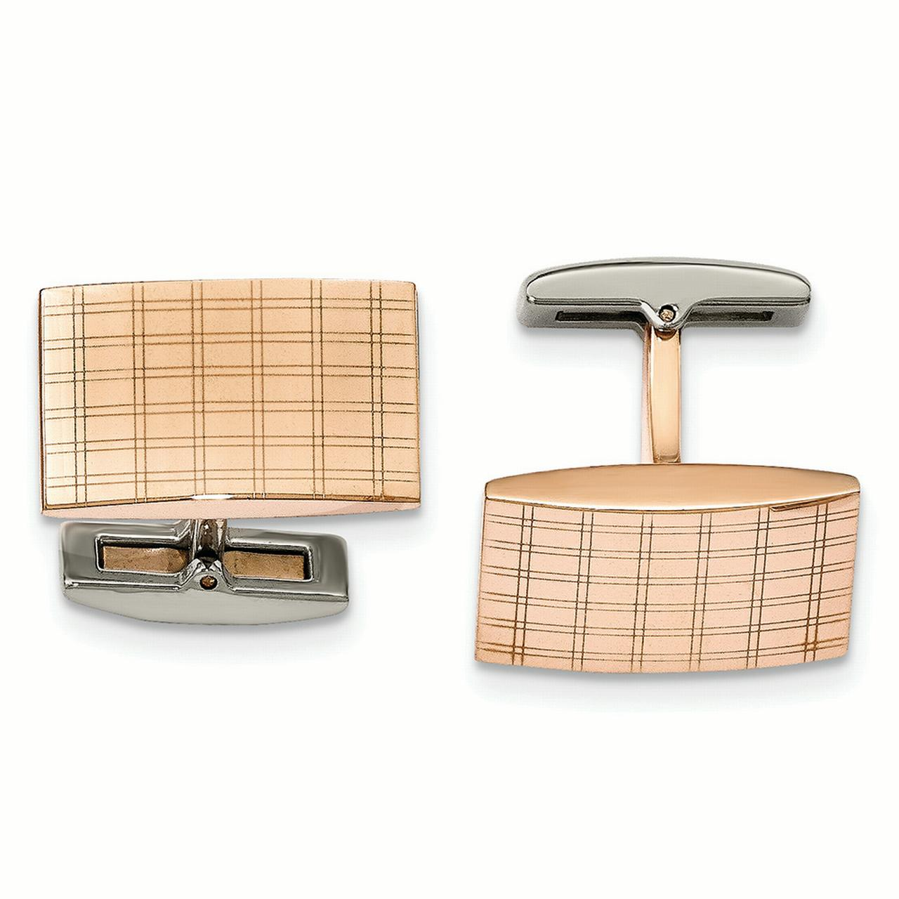 Stainless Steel Polished Rose IP Plated Laser Design Cuff Links