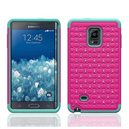 Galaxy Note Edge Case, Crystal Rhinestone Studded Hybrid Dual Layer Shock Absorbent Case for Samsung Galaxy Note Edge - Hot Pink/Teal (Samsung Note Edge Case)