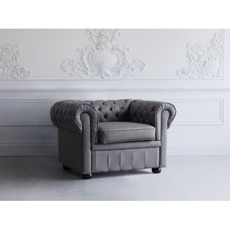 Accent Club Chair Traditional Modern Tufted Gray Leather Chesterfield ()