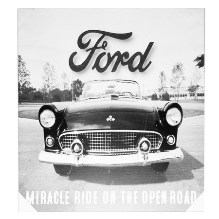 Roman Decor (Roman Black/White Ford Thunderbird Canvas w/Metal Accents Wall Decor,)