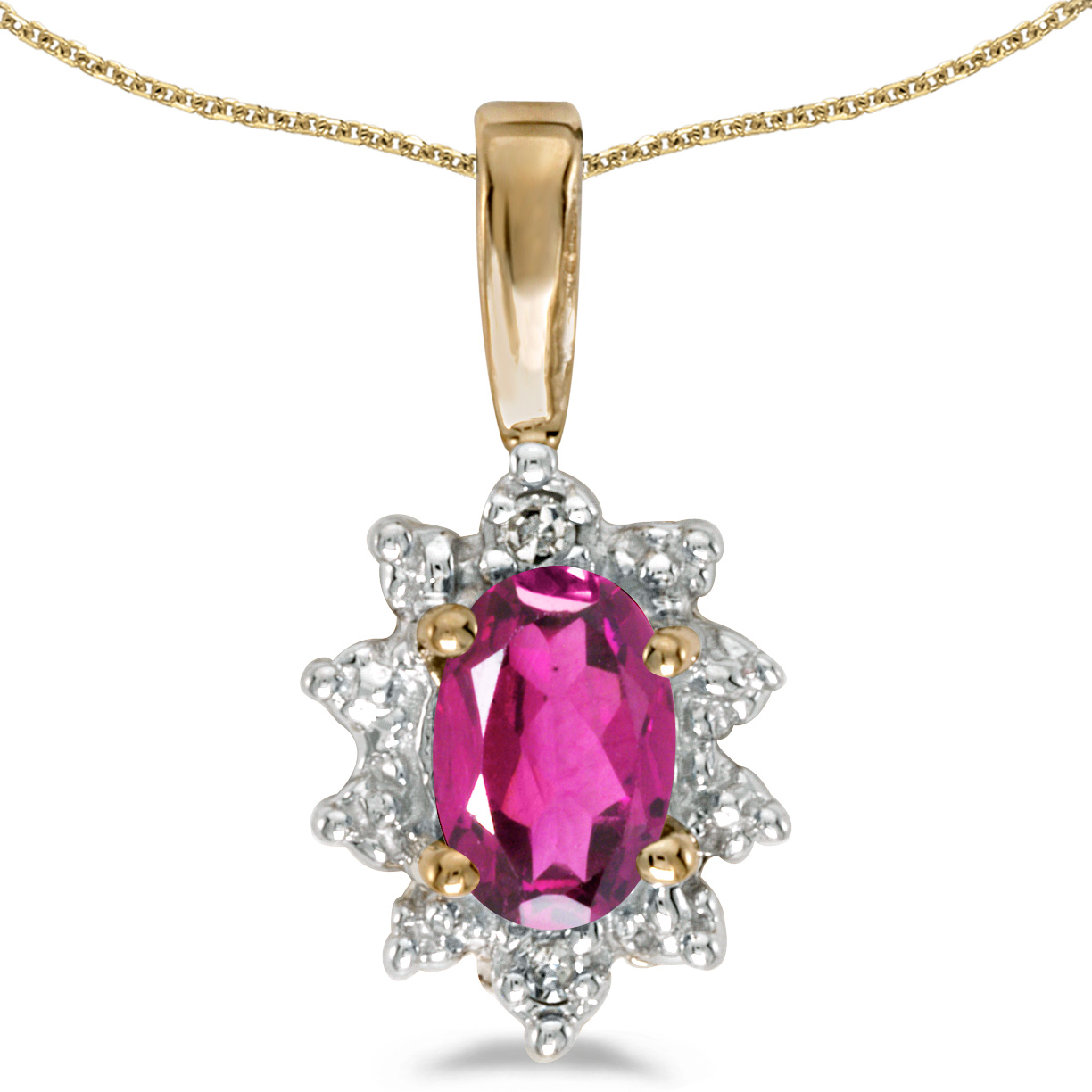 """10k Yellow Gold Oval Pink Topaz And Diamond Pendant with 16"""" Chain by"""