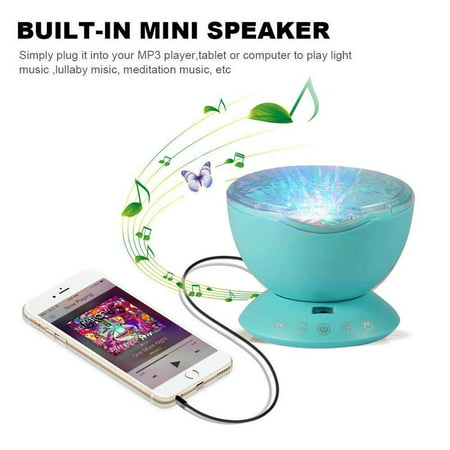 New Ocean Wave Night Light Projector with Music Player Blue