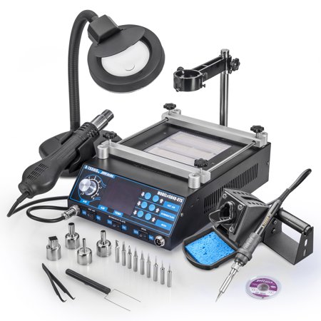 X Tronic Model  5040 Xts Hot Air Rework Soldering Iron   Preheating Station With 70 Watt Iron  10 Asst Solder Tips  4 Hot Air Nozzles  Pinpoint Tweezers  Ic Popper  Gootwick   Free 5X Magnifying Lamp