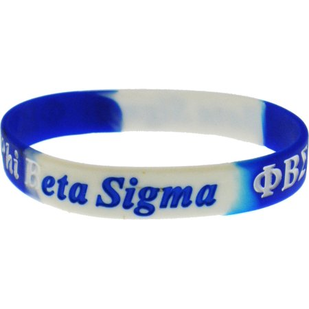 Phi Beta Sigma Color Swirl Silicone Bracelet [Pack of 2 - Blue/White - - Cheapest Silicone Bracelets