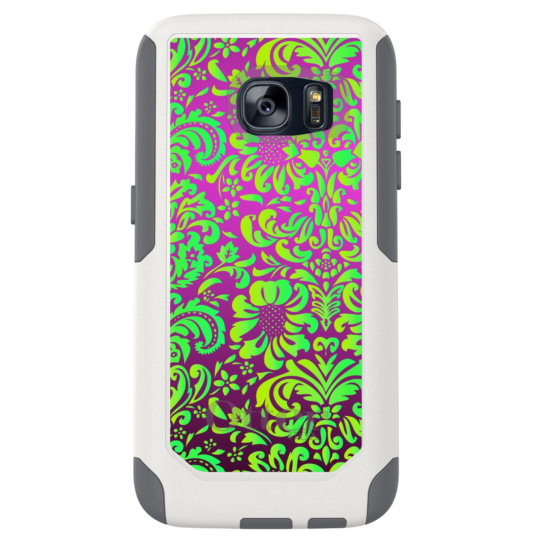 DistinctInk™ Custom White OtterBox Commuter Series Case for Samsung Galaxy S7 - Purple Green Floral Pattern