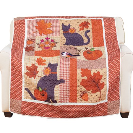 Harvest Cat Patchwork Throw Blanket with Fall Leaves and Pumpkins, 60 x 50 Inches - Pumpkin With Leaves