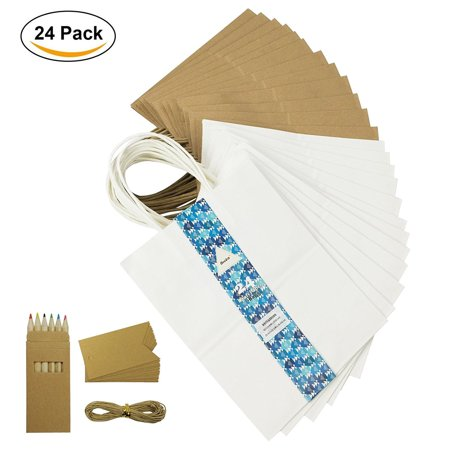 """Becko White & Brown Mix Kraft Paper Bags, Shopping, Merchandise, Party, Gift Bags - 24 Count - 8""""x5""""x10.5"""" - Halloween Brown Paper Bag Decorating"""