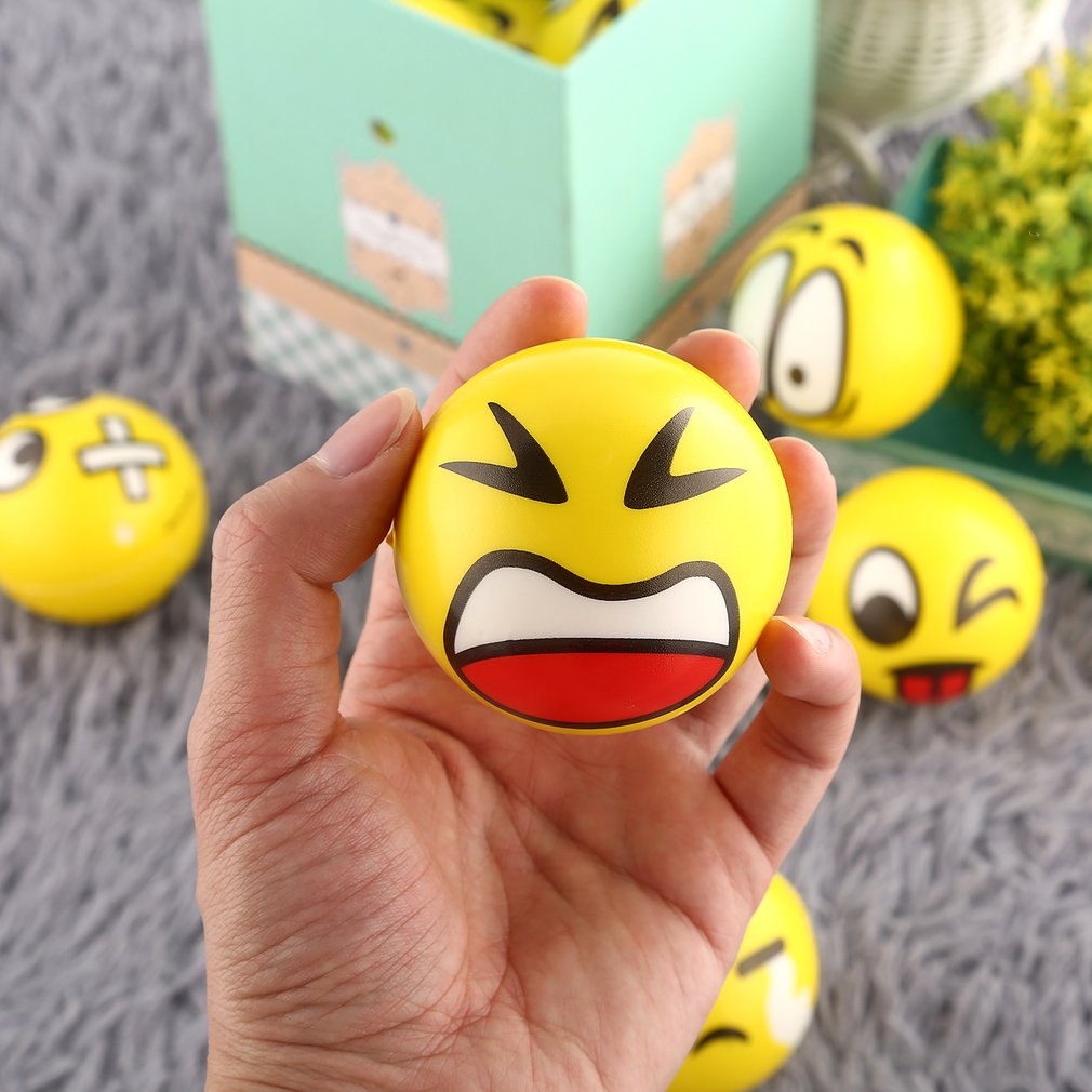 Yellow Facial Expression Stress Relief Sponge Foam Balls Hand Strength Squeeze Ball Children Adult Hand Exercise Toys Balls