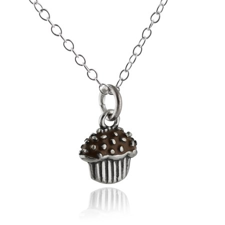 Sterling Silver Cupcake Charm Necklace , 18
