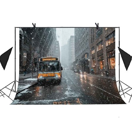 MOHome Polyster 7x5ft Winter City Landscape Backdrop Heavy Snow Bus City Architecture American Flag Background Photo Booth Studio Props Party Curtain Background