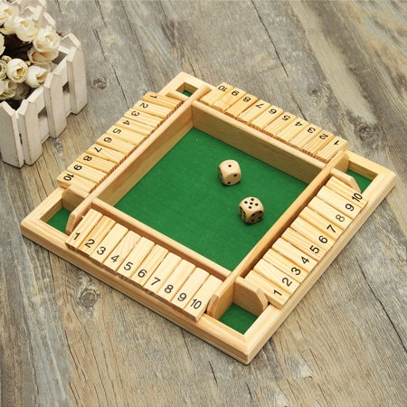 Traditional Wooden Pub Bar Four Sided 10 Numbers Board Family Game Dice Kids and Adults For Shut The Box