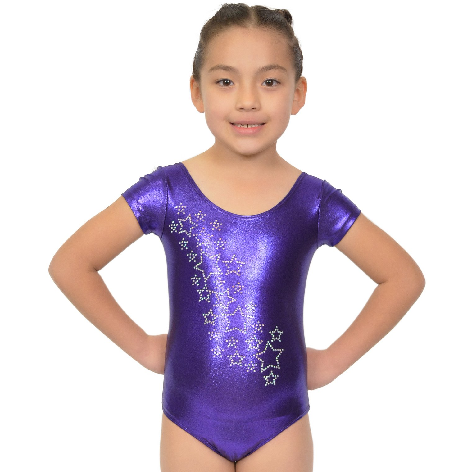 Girl's RHINESTONE Raining Stars Mystique Leotards - X Large (12) / Purple
