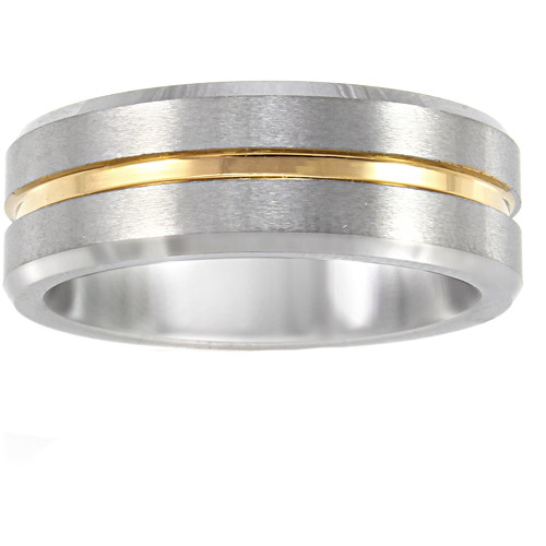 Men's Yellow and Gray Tungsten Ring, 8mm