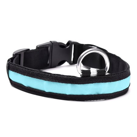 medium LED Light Up Dog Collar Nylon Pet Night Safety Bright Flashing Adjustable NEW - image 1 de 5