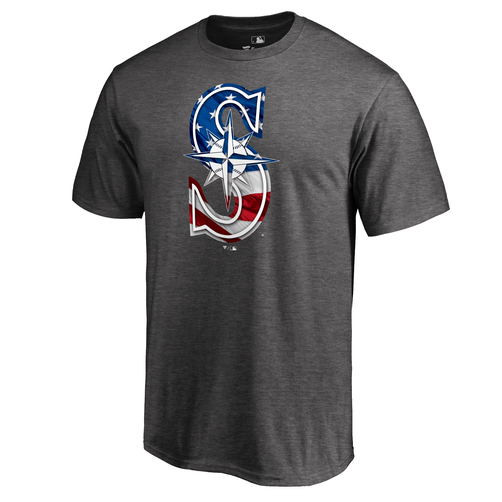 Seattle Mariners Fanatics Branded 2018 Stars & Stripes Banner Wave Logo T-Shirt - Heather Gray