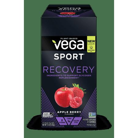 Vega Sport Vegan Recovery Powder, Apple Berry, 0.96 Oz, 12 Ct