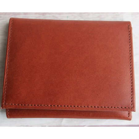 Light Brown Leather Tri-Fold Wallet with card slots and bill section