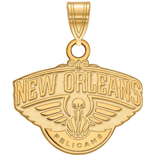 LogoArt NBA New Orleans Pelicans 14kt Gold-Plated Sterling Silver Small Pendant