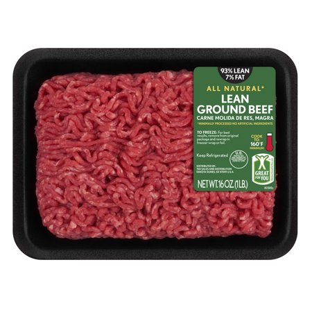 All Natural* 93% Lean/7% Fat Lean Ground Beef Tray, 1 lb