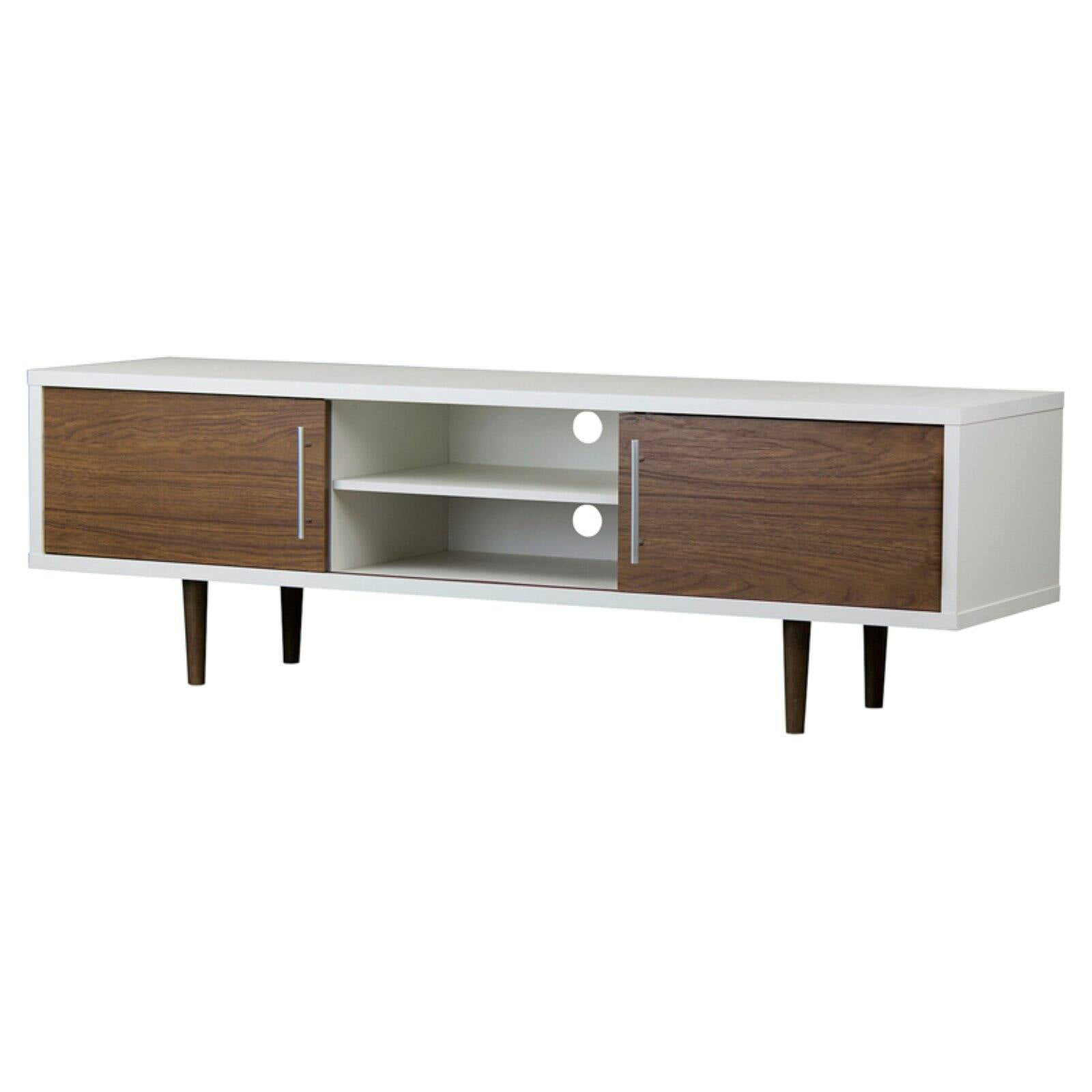 "Gemini Wood Contemporary TV Stand Walnut/White 66"" - Baxton Studio"