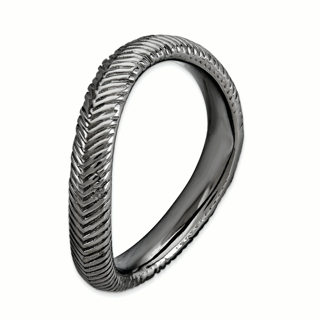 925 Sterling Silver Black Plate Wave Band Ring Size 9.00 Stackable Curved Fine Jewelry Gifts For Women For Her - image 2 de 3