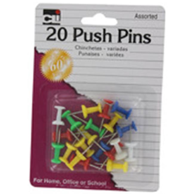 Charles Leonard Inc 20200 Charles Leonard Inc 20200 Push Pins Assorted Colors 20 Count