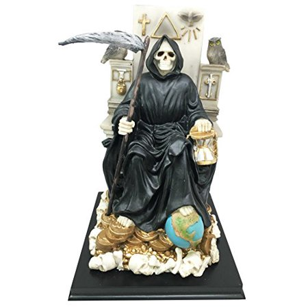 Black Santa Muerte Holy Sacred Death Bone Mother Seated On Throne Figurine Symbol of Protection Decorative (Block Santa)