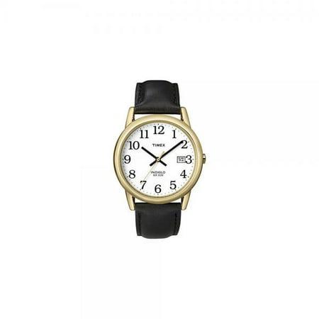 2b31ce135 Timex - T2H291 Mens Easy Reader Black Leather Strap Gold-Tone Case Watch -  Walmart.com