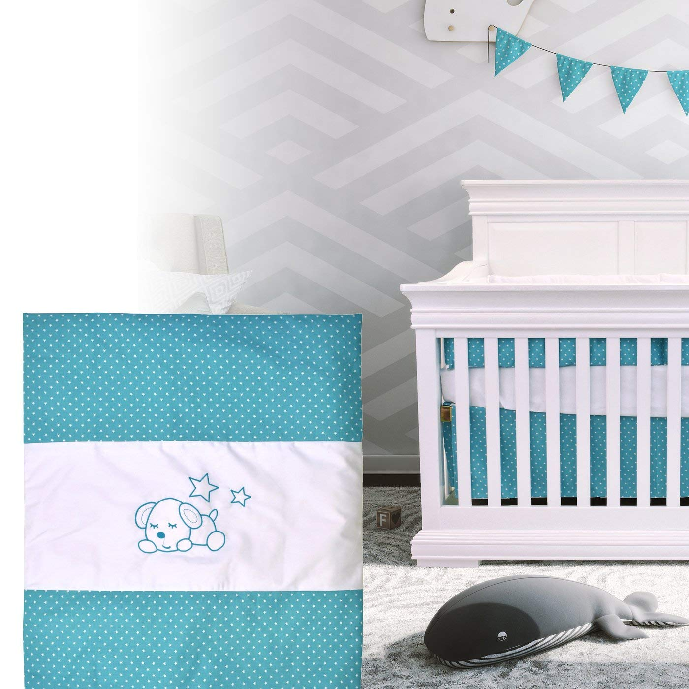 Bebelelo - 5 pieces bedding for baby - turquoise and white with a Sleeping Dog pattern - image 9 of 9