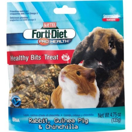 Kaytee Forti-Diet Pro Health Healthy Bits Rabbit, Guinea Pig & Chinchilla Treats, 4.5-oz bag