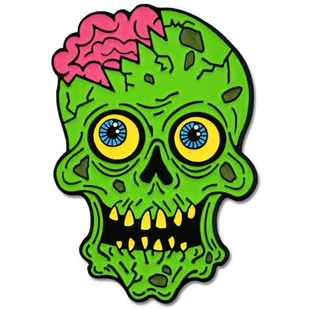 PinMart's Green Zombie Skull and Brains Horror Halloween Enamel Lapel Pin](Halloween Jello Brain)