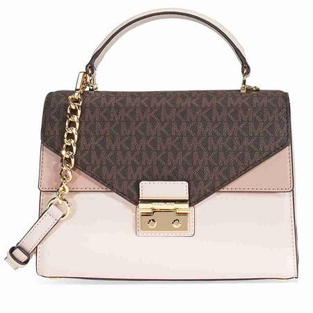 Michael Kors Sloan Medium Leather and Logo Satchel- Brown/ Soft Pink (Medium Pink Leather)