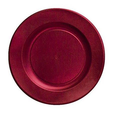 Paper Chargers For Plates (Sophistiplate Satin Red Righe Charger Paper Plates (Pack of 8) Fancy Disposable Dinnerware for Holiday Parties, Birthdays, Anniversaries and Special Entertaining Occasions Ridged Charger Plates (8)